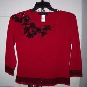 Jones New York L/S Red Sequin Sweater Size  Petite